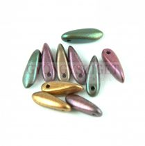 Lándzsa (szirom) cseh préselt üveggyöngy - Purple Iris Gold - 3x11mm