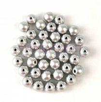 Czech Pressed Round Glass Bead - Aluminium - 4mm