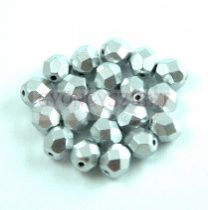 Cseh csiszolt golyó gyöngy - Aluminium - 6mm