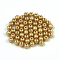 Czech Pressed Round Glass Bead - aztec gold - 6mm