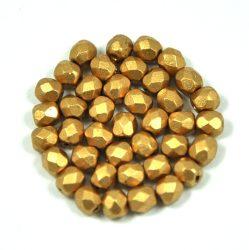 Cseh csiszolt golyó gyöngy - Aztec Gold - 4mm
