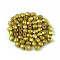 Czech Firepolished Round Glass Bead - olive gold-3mm