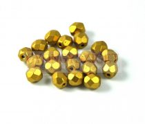 Czech Firepolished Round Glass Bead - olive gold - 4mm