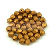 Cseh csiszolt golyó gyöngy - Matte Metallic Antique Gold - 4mm
