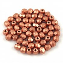 Czech Firepolished Round Glass Bead - mattee metallic copper - 3mm