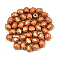 Cseh csiszolt golyó gyöngy - Matt Metallic Copper - 4mm