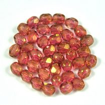 Czech Firepolished Round Glass Bead - crystal golden pink luster-4mm
