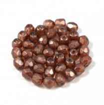 Cseh csiszolt golyó gyöngy - kristály-smoky topaz arany lüszter-4mm