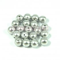Czech Pressed Round Glass Bead - silver -4mm