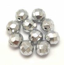Czech Firepolished Round Glass Bead - aluminum silver - 8mm