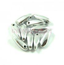 Lándzsa (szirom) cseh préselt üveggyöngy - ezüst - 3x11mm