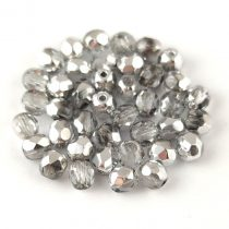 Czech Firepolished Round Glass Bead - Crystal Silver - 4mm