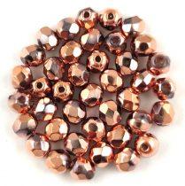 Czech Firepolished Round Glass Bead - Crystal Capri Gold - 4mm