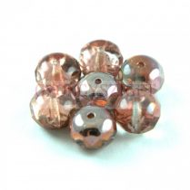 Donut - Czech Firepolished Faceted Bead - 6x9mm - Crystal Apollo
