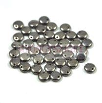 Lentil with Asymetrical Hole - Czech Glass Bead - crystal chrome -6mm