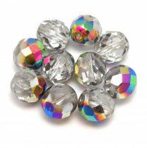 Czech Firepolished Round Glass Bead - Crystal Vitrail - 8mm