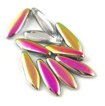 Lándzsa (szirom) cseh préselt üveggyöngy - kristály-vitrail -5x16mm