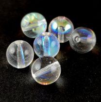 Cseh préselt golyó gyöngy - Crystal AB - 10mm