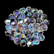 Czech Firepolished Round Glass Bead - crystal ab-3mm