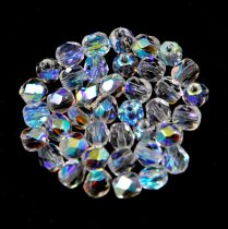Czech Firepolished Round Glass Bead - Crystal ab - 4mm