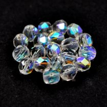 Czech Firepolished Round Glass Bead - crystal ab-6mm