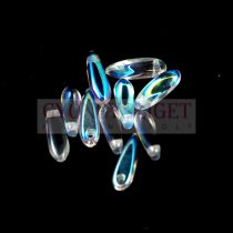 Cseh szirom (dagger) gyöngy - crystal ab - 3x11mm