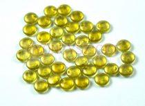Cseh szélén fúrt préselt lencse gyöngy - crystal peridot golden shine -6mm