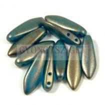 Lándzsa (szirom) cseh préselt üveggyöngy két lyukkal - crystal capri golden shine -5x16mm
