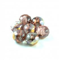 Doughnut - Czech Firepolished Faceted Bead - 6x9mm - Crystal Sliperit