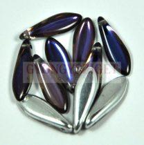 Lándzsa (szirom) cseh préselt üveggyöngy - crystal meridian blue - 5x16mm