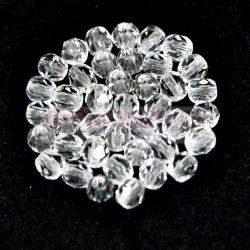Czech Firepolished Round Glass Bead - crystal-3mm
