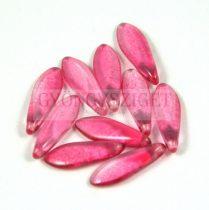 Lándzsa (szirom) cseh préselt üveggyöngy - crystal raspberry luster -5x16mm