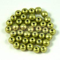 Cseh préselt golyó gyöngy - Saturated Metallic Green Tea - 3mm