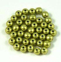 Cseh préselt golyó gyöngy -  saturated metallic green tea - 4mm