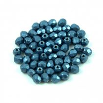 Czech Firepolished Round Glass Bead - saturated metallic montana - 3mm