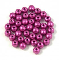 Czech Pressed Round Glass Bead - saturated metallic pink - 4mm