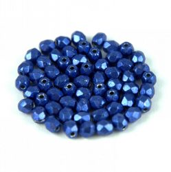 Czech Firepolished Round Glass Bead - saturated metallic lapis - 3mm