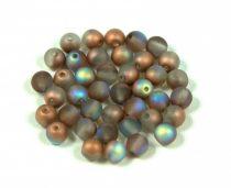 Cseh préselt golyó gyöngy - matt crystal copper rainbow -4mm