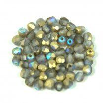 Cseh csiszolt golyó gyöngy - crystal matte golden rainbow -3mm