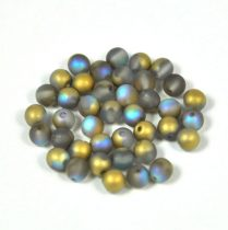Cseh préselt golyó gyöngy - crystal matte golden rainbow -4mm