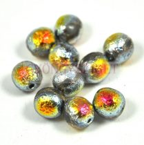 Czech Pressed Round Glass Bead - etched marea - 8mm