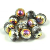 Czech Pressed Round Glass Bead - etched vitral - 8mm