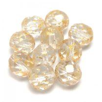 Cseh csiszolt golyó gyöngy - Crystal Gold Patina - 8mm