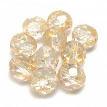 Czech Firepolished Round Glass Bead - Crystal Gold Patina - 8mm