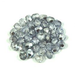 Cseh csiszolt golyó gyöngy - kristály-ezüst metál-4mm