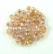 Cseh csiszolt golyó gyöngy - Crystal Brown Rainbow - 3mm