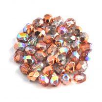 Cseh csiszolt golyó gyöngy - Crystal Copper Rainbow - 4mm