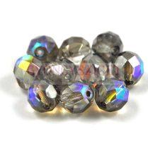 Cseh csiszolt golyó gyöngy - Crystal Graphite Rainbow - 4mm