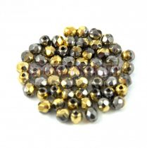 Czech Firepolished Round Glass Bead - crystal California grafit-3mm