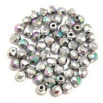 Cseh csiszolt golyó gyöngy - Crystal Glittery Silver - 3mm